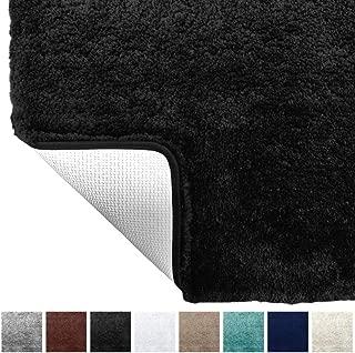 Gorilla Grip Original Premium Luxury Bath Rug, 24x17 Inch, Extra Soft, Absorbent Faux Chinchilla Bathroom Plush Mat Rugs, Machine Wash and Dry, Carpet Mats for Bath Room, Shower, Hot Tub, Spa, Black