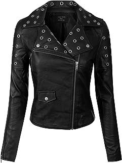 Instar Mode Women's Long Sleeve Zipper Closure Moto Biker Faux Leather Jacket