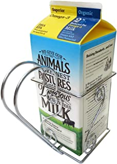 Cara's Casa 1/2 Gallon Juice or Milk Carton Holder - Elegant, Easy Grip Holder with Handle Makes Holding and Pouring Trouble-Free. Sturdy Metal Construction. Nice for Home Kitchen Gifts and Housewarming Gift Ideas.