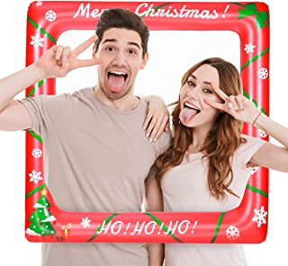 Amosfun Christmas Inflatable Selfie Frame Picture Selfie Frame Funny Photo Booth Props Blow Up Party Props for Birthday Wedding Bridal Shower (27.95 x 27.95 Inch)