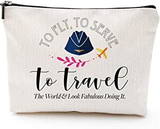 Flight Attendant Gifts for Women-to Fly to Serve to Travel- Makeup Travel Case,Makeup Bag Gifts