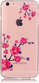 """iPhone 6 Transparent Case - Aeeque iPhone 6 / 6S 4.7"""" Stylish Pink Flower Ultra Slim Thin TPU Silicone Gel See-through Crystal Soft Flexible Back Cover Skin Bumper"""