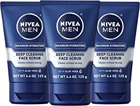 Nivea Men Maximum Hydration Deep Cleaning Face Scrub – Cleans without drying,..