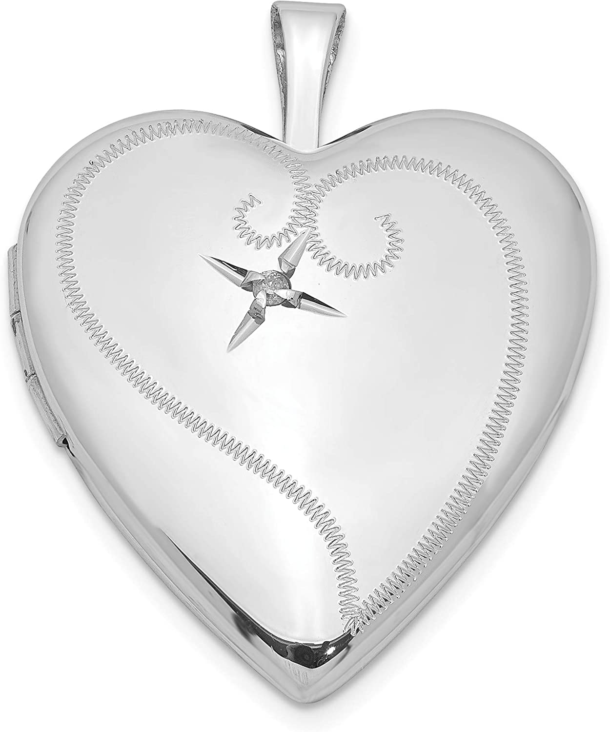 Sterling Silver Diamond Purchase 20mm Heart lowest price cttw 0.01 25x20mm Locket