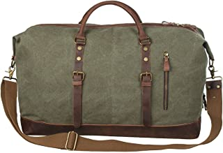 S-ZONE Oversized Canvas Genuine Leather Trim Travel Tote Duffel Shoulder Weekend Bag Weekender Overnight Carryon Handbag