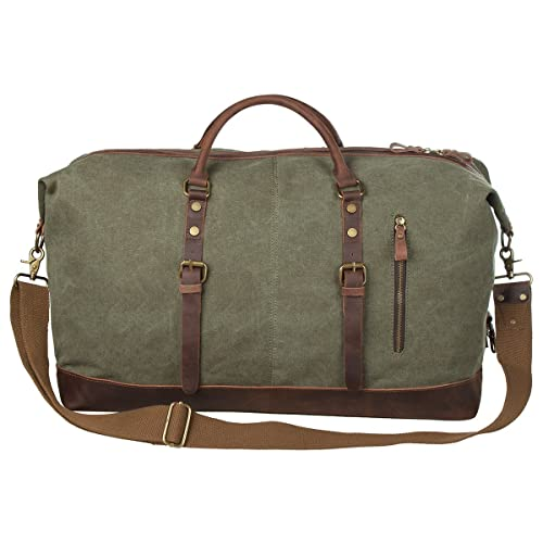 08e4cc5e5 S-ZONE Oversized Canvas Genuine Leather Trim Travel Tote Duffel Shoulder Weekend  Bag Weekender Overnight