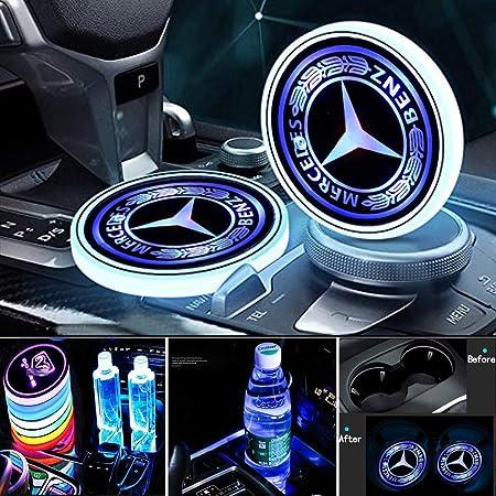 2pcs Logo Cup Halter Matte Pad Wasserdicht USB-Aufladung Verbesserte LED Auto Getr/änkehalter Lichter 7 Farben LED innenbeleuchtung Auto Atmosph/äre Lampe Dekoration Licht fit La-nd ro-ver