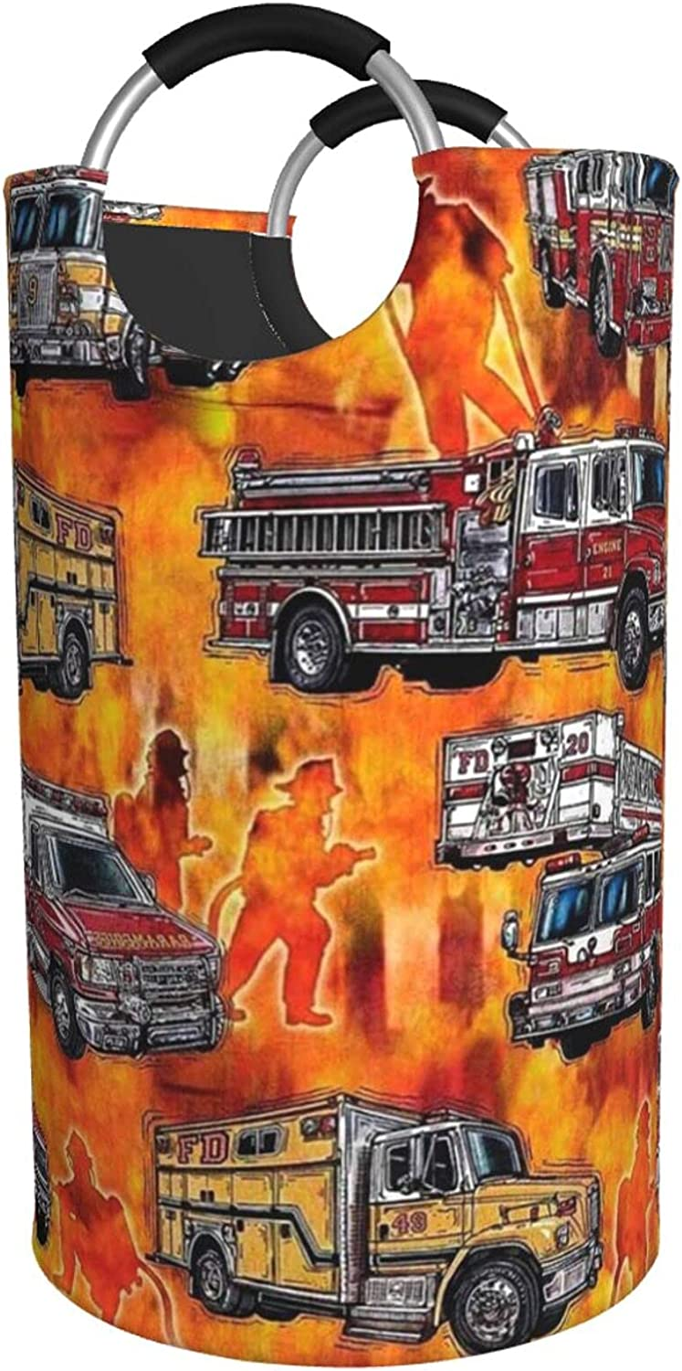In a popularity Fire Truck Print Limited time for free shipping Laundry Hamper Pad Bag With Waterproof