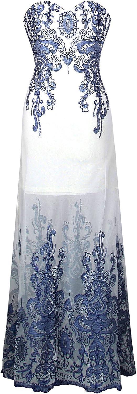 Angelfashions Women's Embroidery Floral Patteren Transparent Long Evening Dress