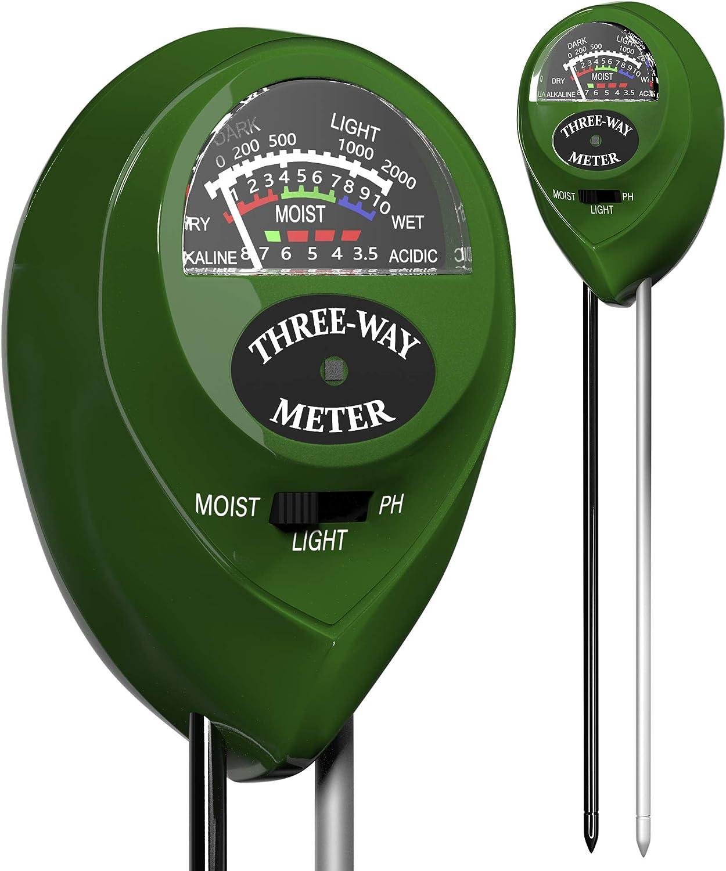 Trazon Soil pH Meter 3-in-1 Soil Tester Moisture, Light, pH, Meter Tool for Garden, Farm, Plant, Outdoor, Indoor, Lawn Care, Water Soil, Soil Hygrometer Sensor for Gardening, Test Kit for Garden