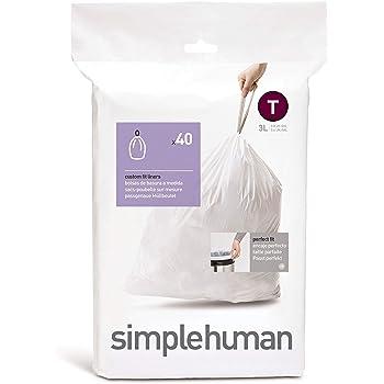 simplehuman SET 40 BOLSAS BASURA (T) 3 L, code T — 3L White, Liners