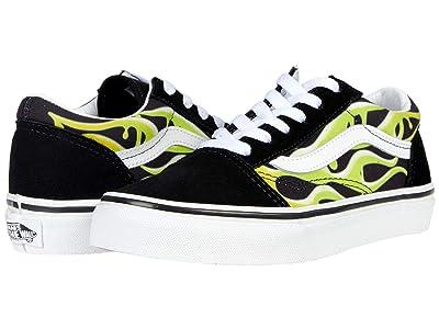 Vans Kids Old Skool (Big Kid) ((Slime Flame) Black/True White) Boys Shoes