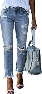Women Ripped Slim Fit Jeans Boyfriend Distressed Ankle...