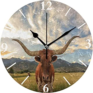 SLHFPX Wall Clock Texas Longhorn Steer Silent Non Ticking Decorative Round Digital Clocks for Home/Office/School Clock