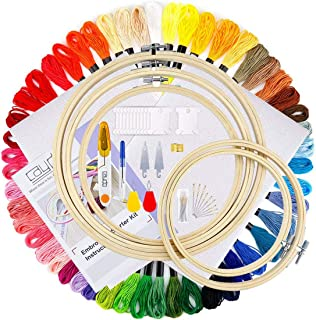 Full Range of Embroidery Starter Kit Upgrade Cross Stitch Tool Kit Full 50 Color Embroidery Floss Thread, 5 Pcs Bamboo Emb...