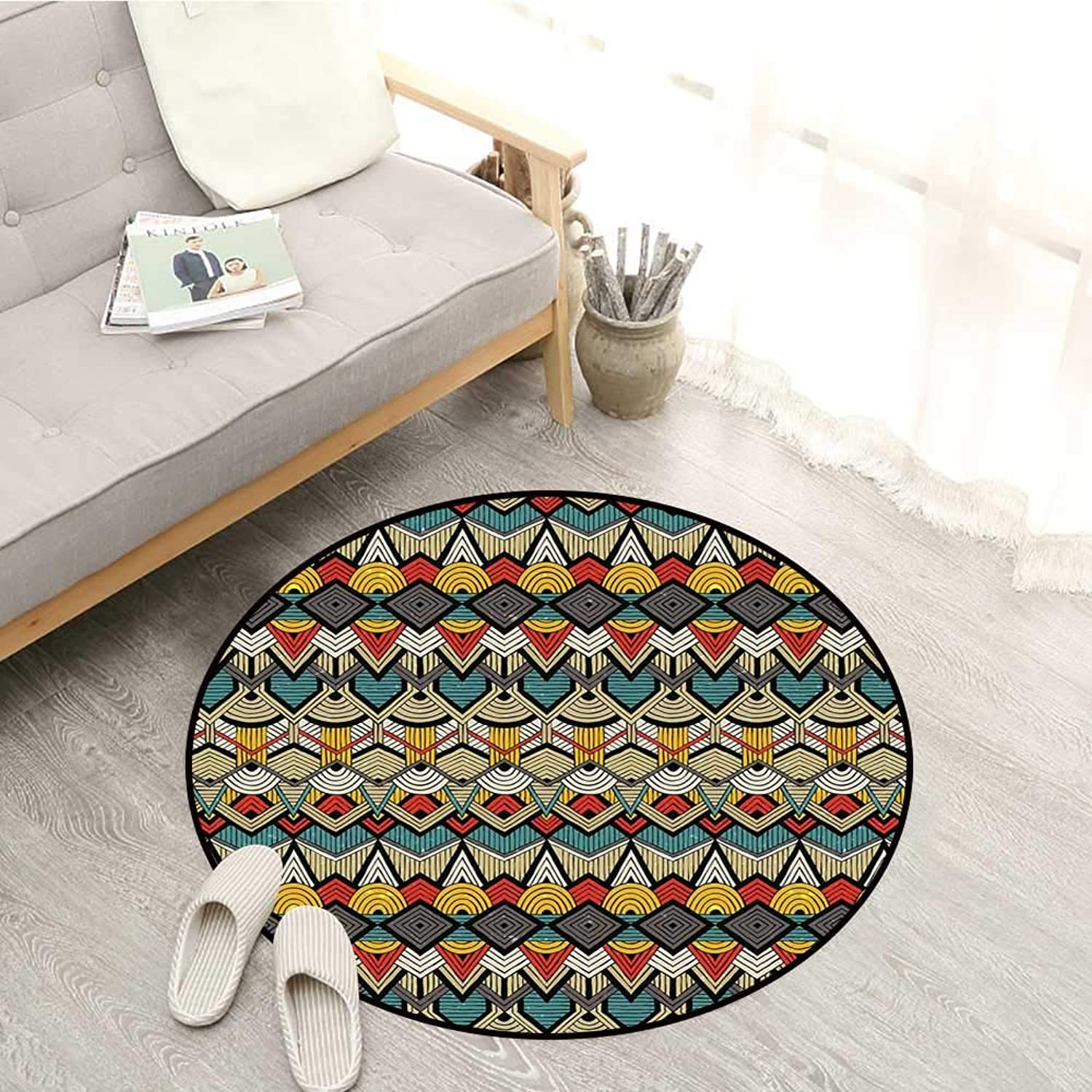 African Carpets Tribal Chevron Zigzags and Half Circles Folkloric Elements Sharp Canonical Motifs Sofa Coffee Table Mat 4'3  Multicolor