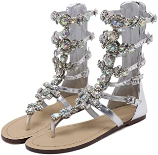 Stupmary Women's Gladiator Sandals Flat Heels Flip Flops Sandalias Crystal Floral Beach Shoes