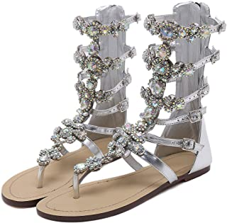 Stupmary Women's Gladiator Sandals Flat Heels Flip Flops Sandalias Crystal Floral Beach Shoes