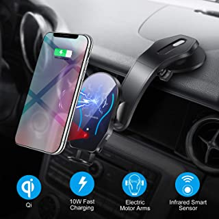 WALOTAR Wireless Car Charger Mount,Automatic Infrared Smart Sensor Clamping Qi 10W 7.5W Fast Charging,Universal Adjustable Dashboard Cell Phone Wireless Charging Air Vent Holder