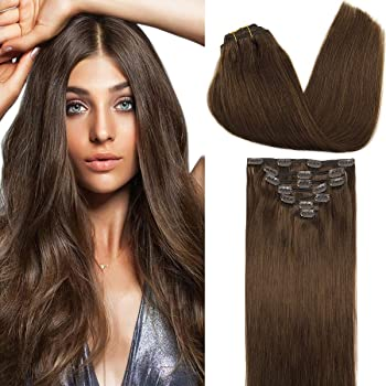 GOO GOO Clip in Human Hair Extensions Chocolate Brown 18 Inch 120g 7pcs Remy Natural Hair Extensions Clip in Straight Thick Weft