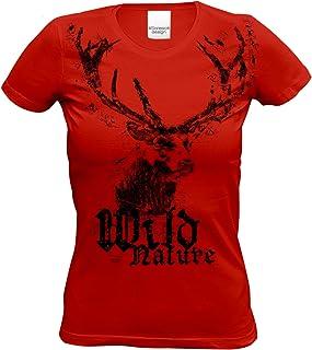 Soreso Design Damen Trachten T-Shirt Kurzarm mit Hirsch Motiv : Trachtenshirt für Oktoberfest Volksfest Freizeit für Mädchen und Frauen : Wild Nature Farbe: rot