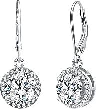 EVER FAITH Women's 925 Sterling Silver Elegant Round CZ Prong Setting Dangle Earrings