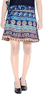 Vintage Style Women's Wear Badmeri Mini Short Wrap Around Skirt Blue