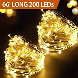 Bright Zeal 66' Long LED Warm White Starry Light String White Wire Outdoor Battery Operated - Warm White LED Battery String Lights with Timer - Warm White Silver Wire Fairy Lights 200 Mini LEDs