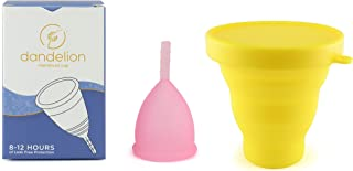 Dandelion Cup Menstrual Cup - Size 1 - Peony Plus Yellow Menstrual Cup Washing Container