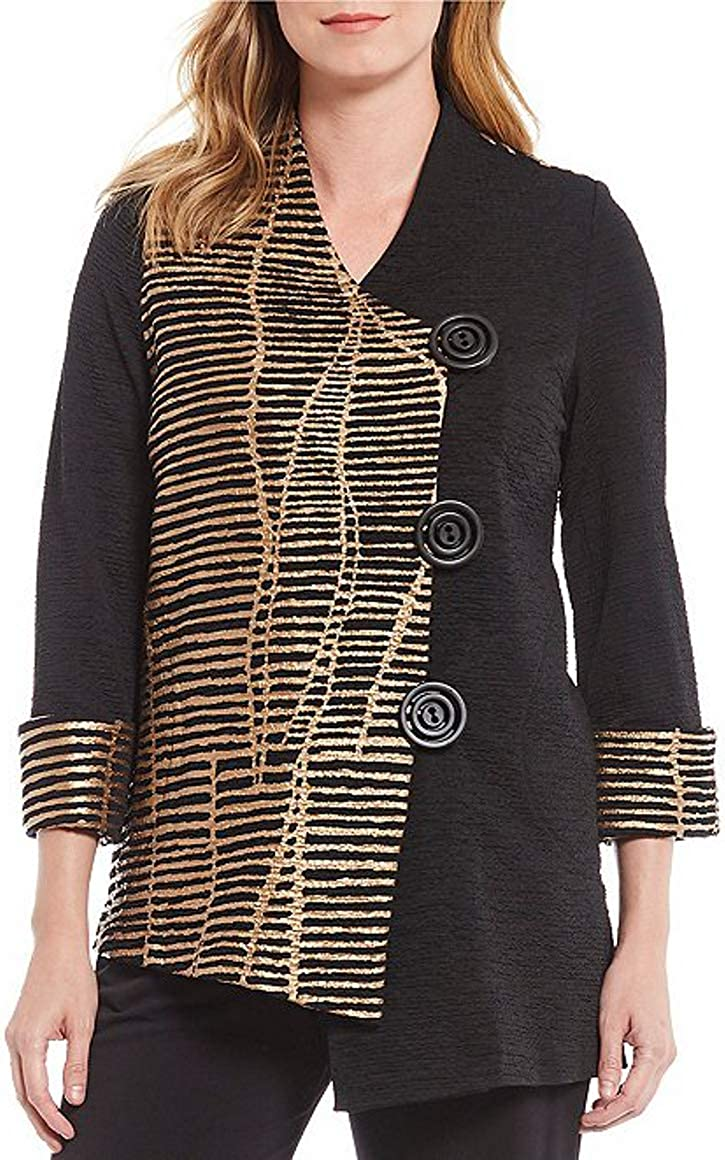 IC Collection Metallic Asymmetrical Button Front 3/4 Sleeve Jacket, Size-M