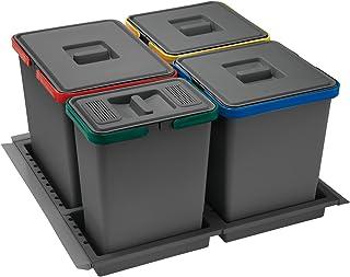 comprar comparacion ELLETIPI Metropolis PTC28060502F C10PPV - Cubo de Basura de Reciclaje de cajón, Gris, 51x 46x 28cm