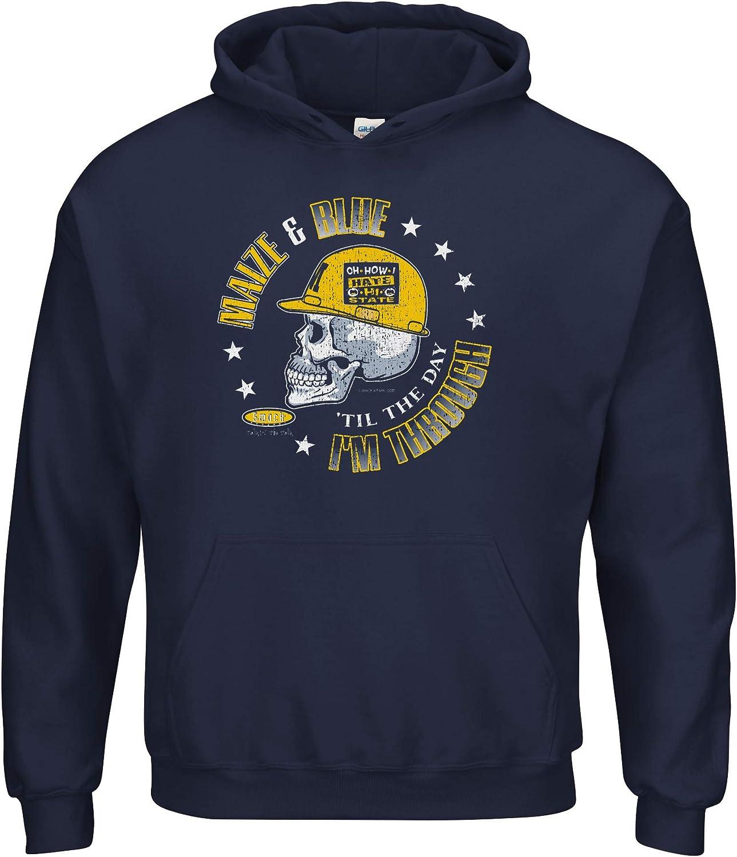 Smack Apparel Michigan Football Fans Maize /& Blue Til The Day Im Through Navy Shirt Sm-5X