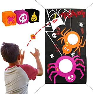 Joy&Leo Halloween Spider Web Bean Bag Toss Game Sets, Easy to Set Up and Store, with 3 Different Bean Bags, Halloween Party Games for Toddlers Kids Teens Students and School