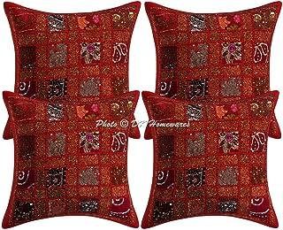 DK Homewares Traditionnelle Patchwork Coton Rouge Géométrique Taie d'oreiller 40 x 40 Cm Décoration De Maison 16 X 16 Pouc...