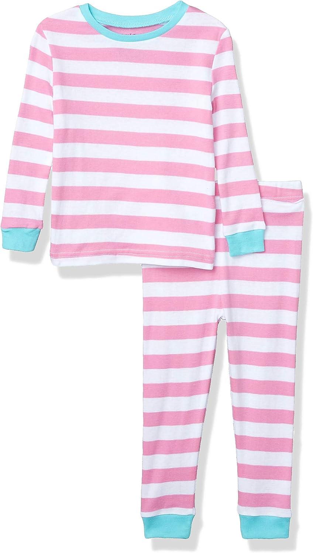 Planet Sleep Girls Boys 2 Piece Cotton Snug Fit Pajama Set-Kids Sleepwear