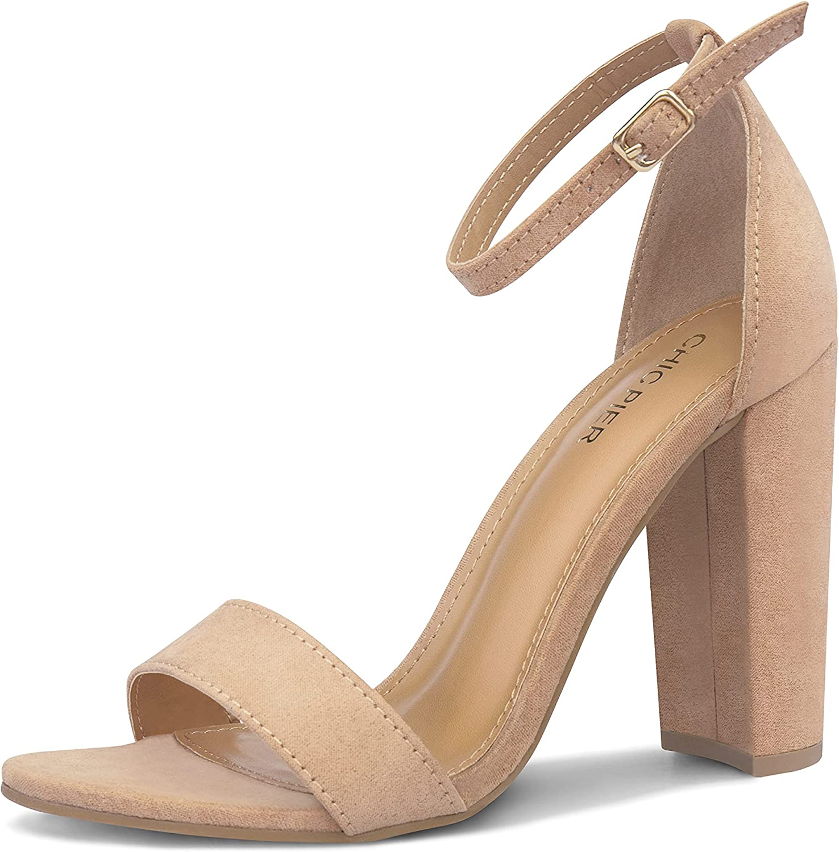 Women's Block Heel Sandals, Ankle Strap Chunky High Heel Open Toe Pump Sandals