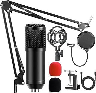 AMZATEK USB Micrófono Kit Condensador Profesional Grabación 192khz,Micrófono Condensador para Radiodifusión y Grabación,So...