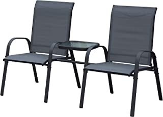 Outsunny Outdoor Garden Double Patio Chair Set with an Attached Middle Coffee Table & Two Seats for Conversation
