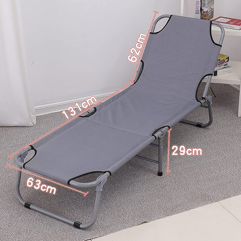 D_HOME Einfache Klappbett Büro Siesta Bett Im Freien Leichte Portable Beach Bett Recliners Liegestuhl Grau (Farbe   Style 2)
