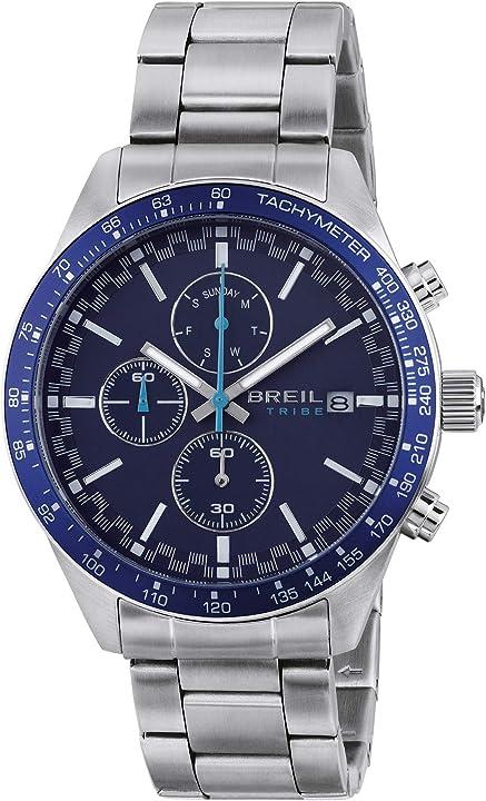 Orologio uomo breil fast quadrante mono-colore blu movimento chronobracciale acciaio argento ew0463