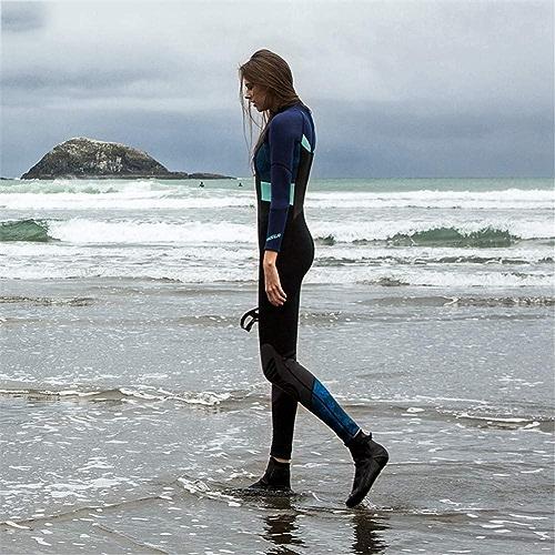 OTO Combinaison de néoprène de Femmes de 1.5mm, Costume de plongée de Couture de Couleur, approprié aux Combinaisons, Surfing, Triathlon,bleu,S