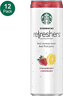 Starbucks, Refreshers with Coconut Water, Strawberry Lemonade, 12 fl oz. cans (12 Pack) (Packaging May Vary)