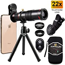 Cell Phone Camera Lens,Phone Photography Kit-Flexible Phone Tripod +Remote Shutter +4 in 1 Lens Kit-High Power 22X Monocular Telephoto Lens, Fisheye, Macro & Wide Angle Lens for Smartphone (Black)