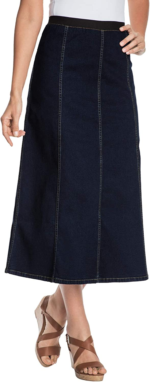 Jessica London Women's Plus Size Jegging Skirt Flared Stretch Denim W/Vertical Seams