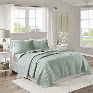 Madison Park Tuscany 3 Piece Reversible Scalloped Edge Coverlet Set, Full/Queen, Seafoam (Renewed)