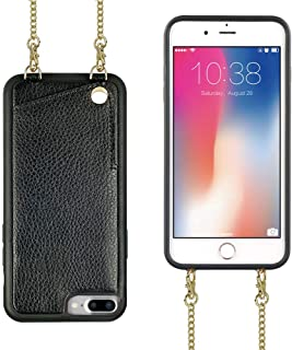 JLFCH iPhone 8 Plus Wallet Case, iPhone 7 Plus Card Slot Holder Case with Detachable Crossbody Chain Purse Back Protection Cover for Apple iPhone 7/8 Plus 5.5 inch - Black