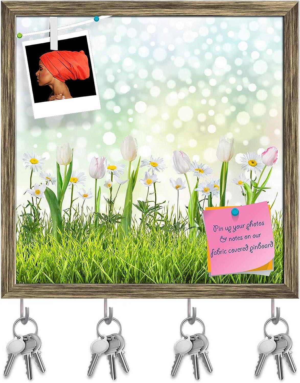 Artzfolio Flowers & Grass Key Holder Hooks   Notice Pin Board   Antique golden Frame 20 X 20Inch