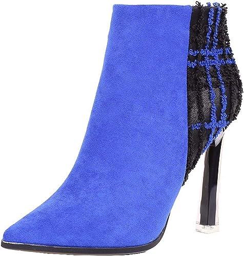 HBDLH Chaussures Femmes Le TempéraHommest 11Cm Talons Pointus Puzzle Couleuriage Bottes Bottines Martin Bottes Chaussures De Daim Femmes Fines.