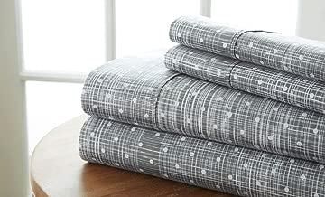 Becky Cameron Polkadot Printed Patterned Quality 4 Piece Sheet Set, Full, Gray