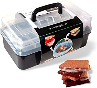 SUMPRI Smores Caddy with Two Folding Trays -Smore Box That Keeps Your Marshmallow Roasting Sticks/Crackers/Chocolate Bars Organized -Fire Pit Accessories Kit,Campfire Smore Skewers Storage Box (Black)